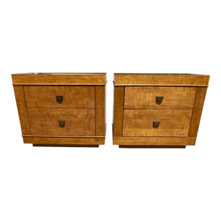 Light Burl Wood Nightstands by Lane - a Pair For Sale