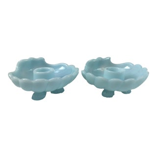 Cambridge Glass Company Blue Milk Glass Shell Candle Stick Holders - Set of 2 For Sale