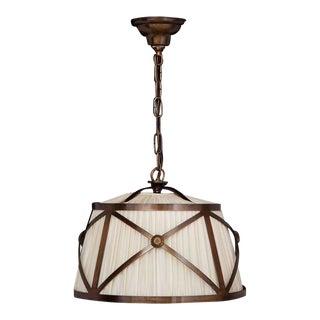 Bronze Finish Drum Shade Pendant Light For Sale