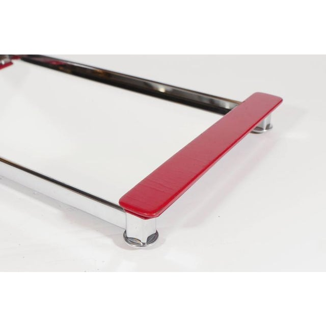 1930s Art Deco Mirrored Bar Tray with Red Lacquered Handles For Sale - Image 5 of 11