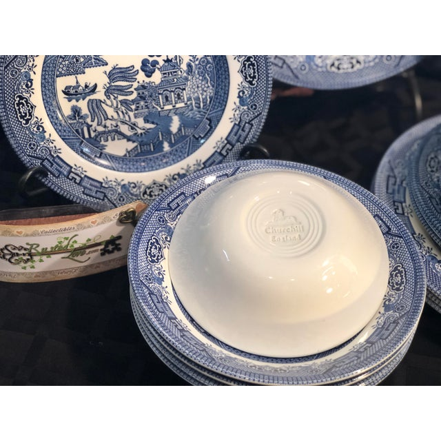 Churchill Traditional English Churchill Blue Willow Dinner, Bread, Salad Plates, Soup, Cereal Bowls - 20 Pieces For Sale - Image 4 of 13