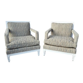 1960s Milo Baughman Regency Upholstered Arm Chairs - A Pair