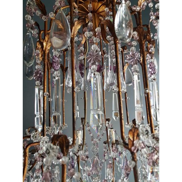 Crystal Chandelier Antique Ceiling Lamp Murano Florentiner Lustre Art Nouveau Purple For Sale - Image 10 of 11