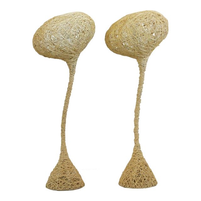 Spun String Lamps - a Pair For Sale