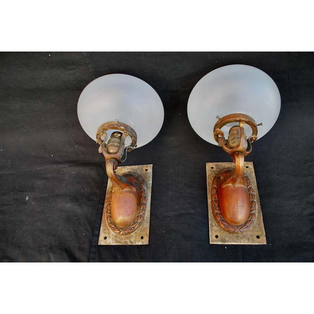 1920s 1920s Brass and Glass Outdoor/Indoor Sconces - a Pair For Sale - Image 5 of 8