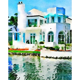 Seaside Villa - Waterside Villa - Beach House Architecture - Digital Watercolor Print From Original Color Photograph by Suzanne MacCrone Rogers For Sale