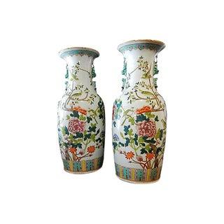 Vintage Porcelain Famille Verte Vases W/ Peacocks - A Pair For Sale