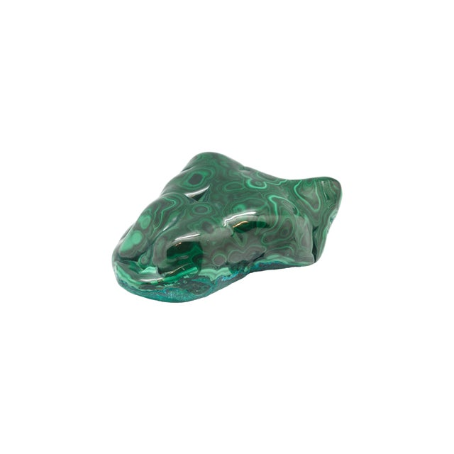 Polished natural Malachite fragment. One of a kind.