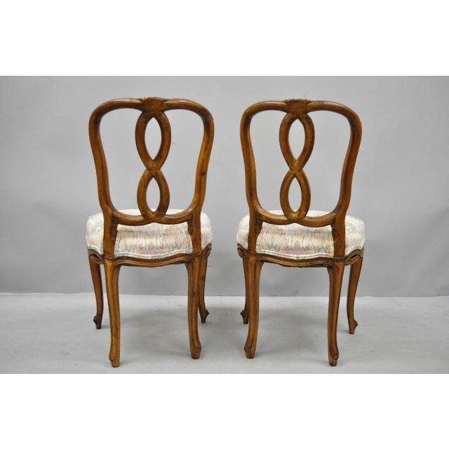 1950s Vintage French Provincial Pretzel Back Spiral Carved Dining Chairs- Set of 6 For Sale - Image 10 of 13