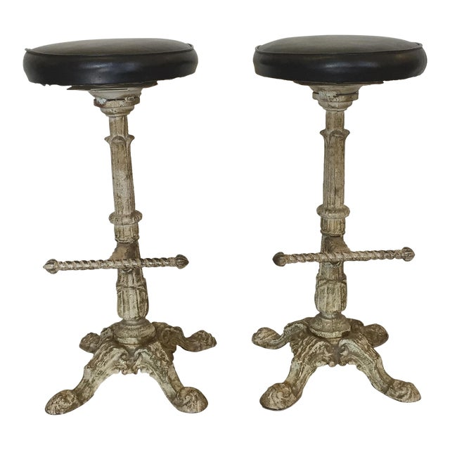 Antique Cast Iron Barstools - A Pair For Sale