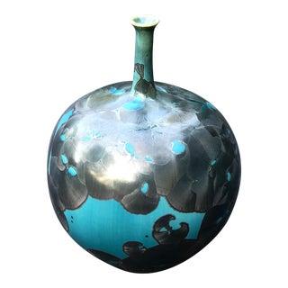 Memphis Style Blue and Gray Crystalline Glaze Porcelain Vase