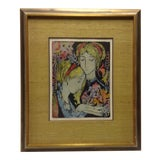 "Image of ""The Women"" Vintage Framed Wood Block Print by Louise August For Sale"