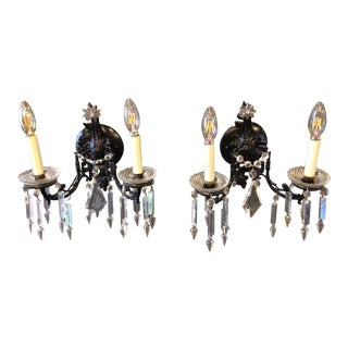 Napoleon III Black Lacquered Sconces in Bronze and Crystal - A Pair