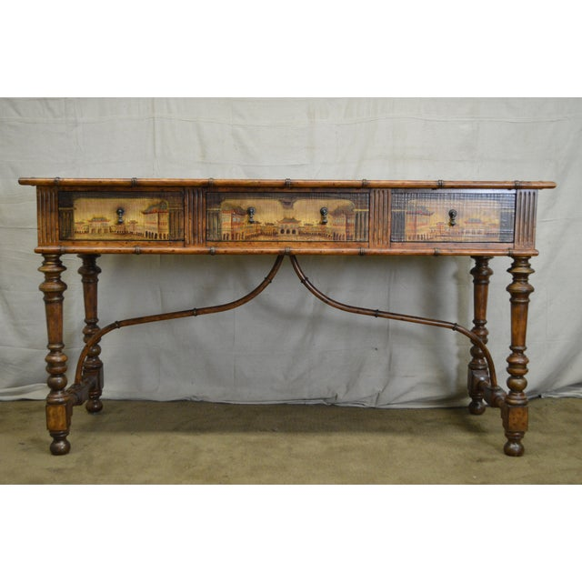 Asian Chinese Hand Painted Large Faux Bamboo Hall Table or Sideboard For Sale - Image 3 of 11