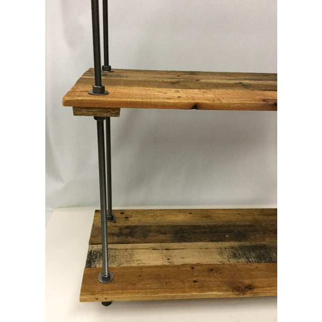 Adjustable Height Industrial Style 3-Shelf Pallet Wood Bookcase For Sale - Image 10 of 13