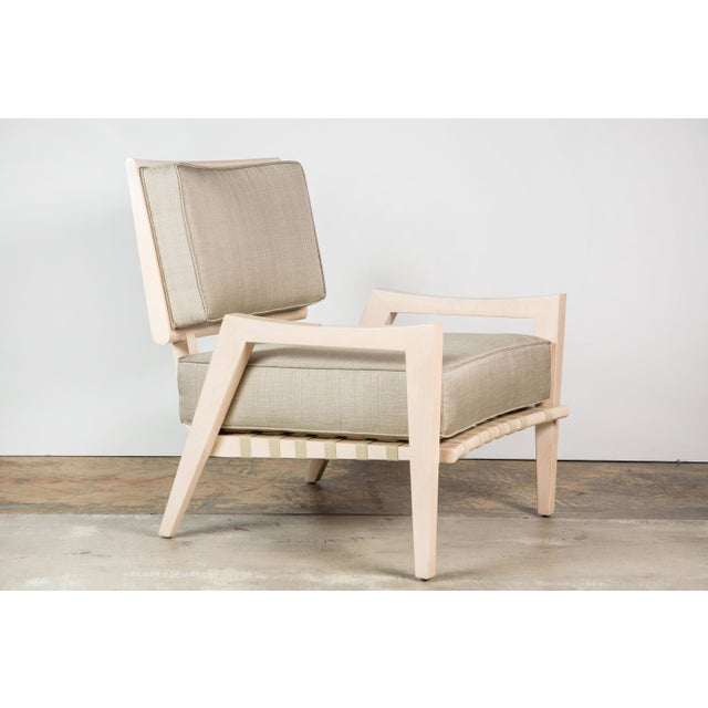 Paul Marra Low Lounge Chair shown in bleached maple and linen. Mid-century modern style. By order, production lead...