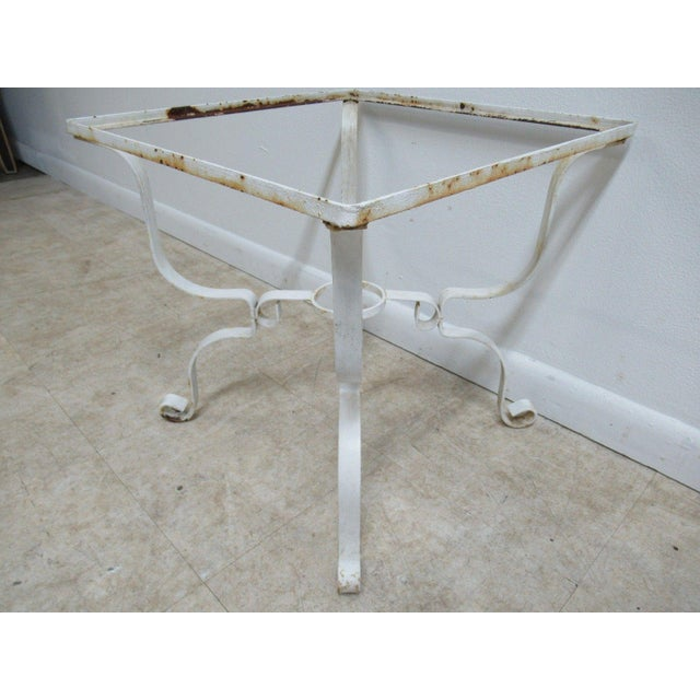 French Vintage French White Outdoor Square Patio End Table For Sale - Image 3 of 11
