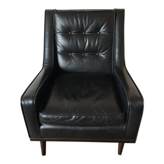 ABC Home Mid-Century Style Black Leather Lounge Chair For Sale