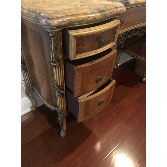 Brown Antique Marble Top Vanity For Sale - Image 8 of 12