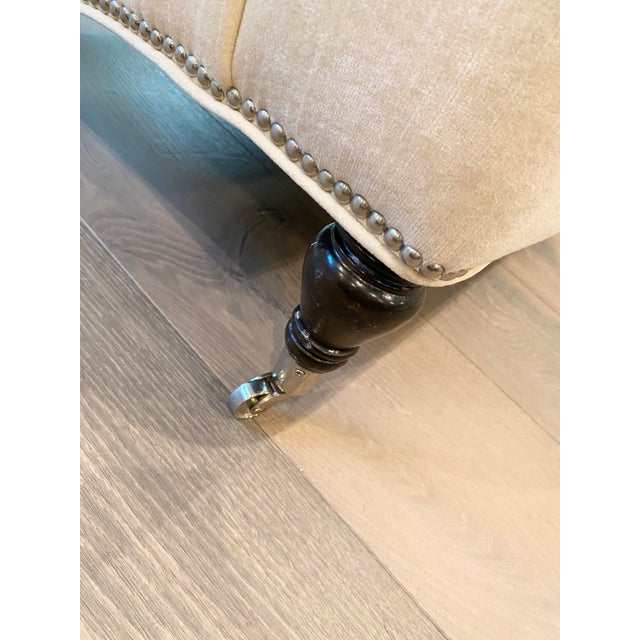 Beige Grace Home Furnishings Beige Velvet NailHead Contemporary Sofa For Sale - Image 8 of 13