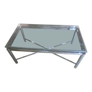 Vintage Mid-Century Modern Chrome & Floating Glass Top Coffee Table For Sale