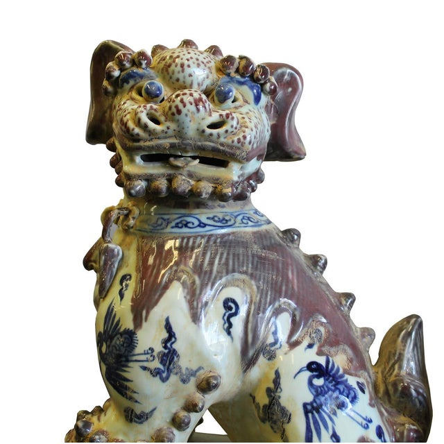 Chinese Red White Blue Porcelain Foo Dogs - A Pair For Sale - Image 4 of 8