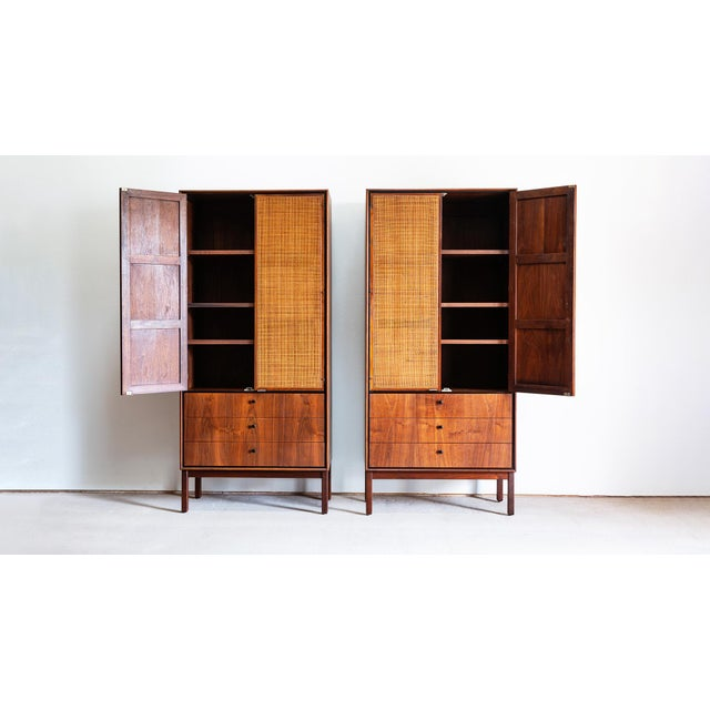 Pair of Jack Cartwright for Founders walnut armoire dresser. Features: -Beautiful, warm, rich, book matched walnut wood...