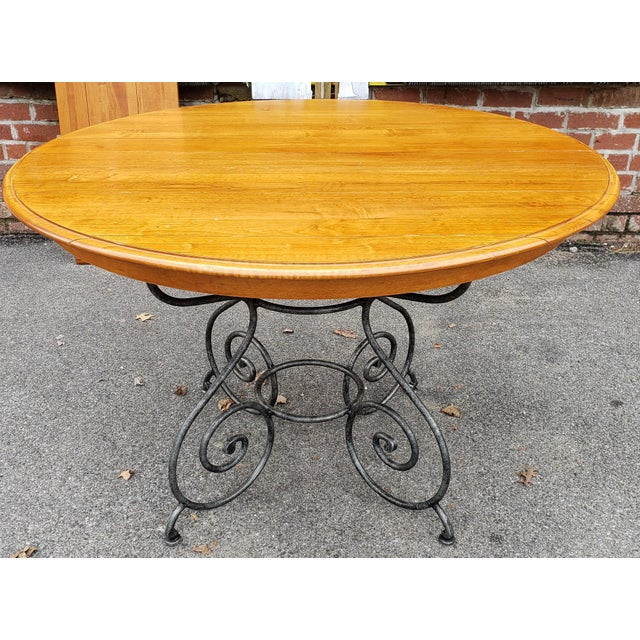 Ethan Allen Legacy Collection Maple Table W/ Wrought Iron Base & 4 Side Chairs C1990s For Sale - Image 9 of 13