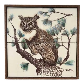 Mid-Century Modern Framed Hand Painted Tile Panel Owl For Sale