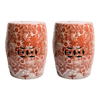 Chinese Red Floral & Dragon Hand Painted Ceramic Garden Stools, A-Pair For Sale