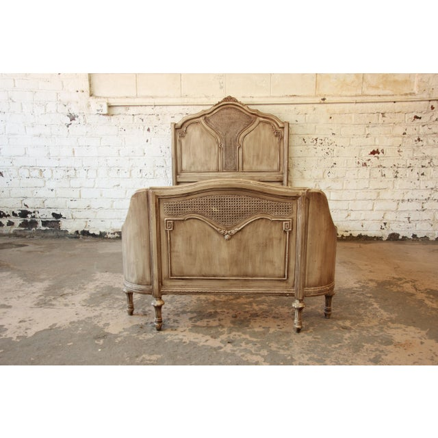 Vintage French Provincial Shabby Chic Twin Bed Frame For Sale
