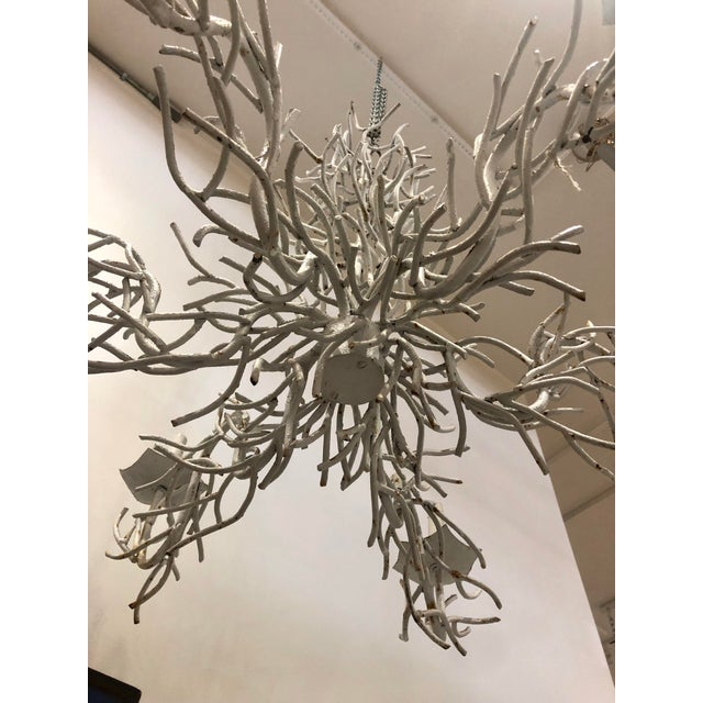 Large White Faux Coral Iron Chandelier For Sale - Image 4 of 11