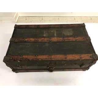 Vintage Industrial Low Steamer Trunk - Perfect for Coffee Table Preview