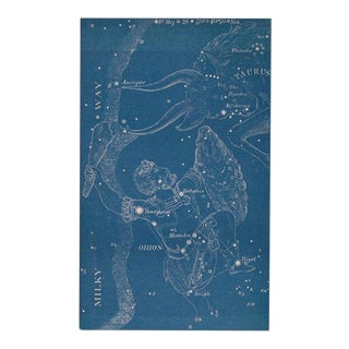 Antique Astronomy Constellations of Orion and Taurus Print For Sale