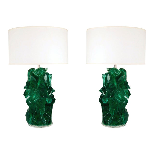 Glass Rock Table Lamps by Swank Lighting Jade Green For Sale