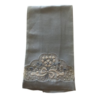 Vintage Powder Blue and White Cotton Embroidered Guest Towel For Sale
