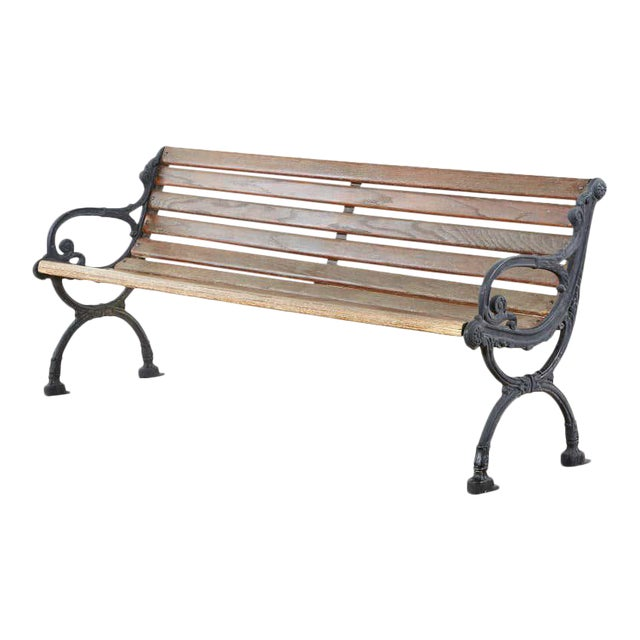 Neoclassical Style Cast Iron and Wood Park Bench For Sale