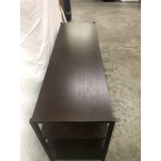 Brown Espresso Stained Three Drawer Console For Sale - Image 8 of 9