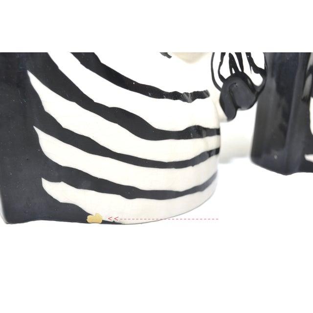 White Vintage Zebra Head Vase - A Pair For Sale - Image 8 of 10