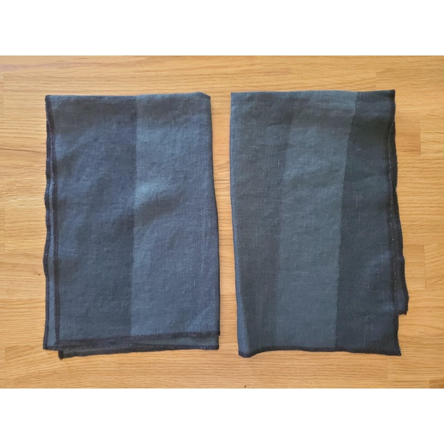 This pair of Tea Towels, Kitchen Towels, or Dish Towels are made of a heavy weight linen with wide but subtle stripes in...