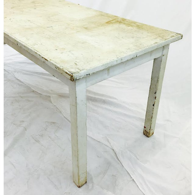 Vintage & Rustic White Wooden Factory Table For Sale - Image 4 of 6