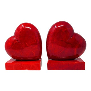 Vintage Italian Alabaster Red Heart Handmade Book Ends - a Pair For Sale