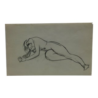 """Vintage Original Drawing on Paper, """"Laying Down"""" by Tom Sturges Jr., Circa 1945 For Sale"""