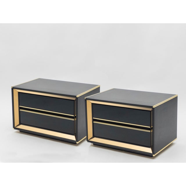 Italian Sandro Petti Black Lacquered Brass Mirrored Nightstands Tables, 1970s For Sale - Image 10 of 13