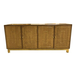 1970s Vintage Romweber Burled Wood and Brass Lowboy For Sale