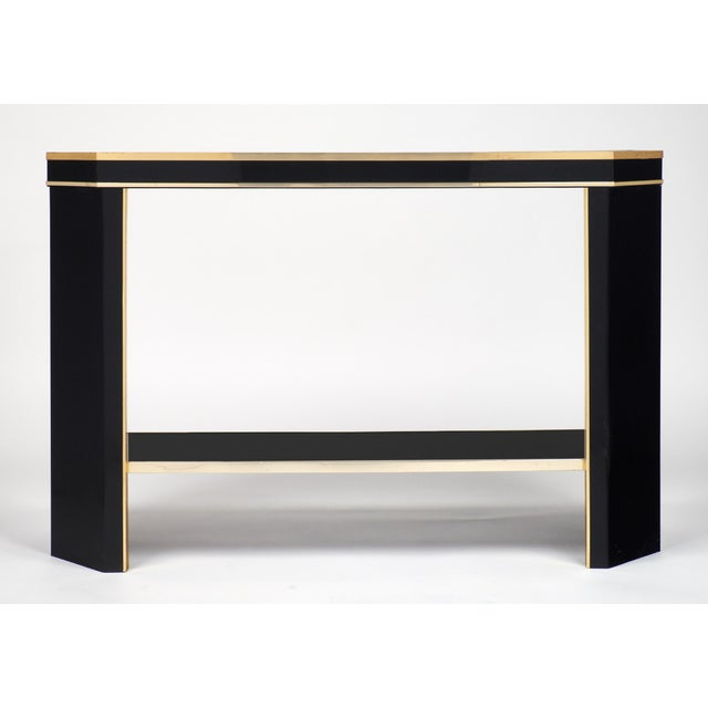 1960s French Black Lucite with Brass Console Table - Image 2 of 9