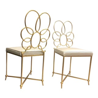 Rene Prou Rare Superb Witty Four-Flower Gold Leaf Wrought Iron Chairs in Silk For Sale