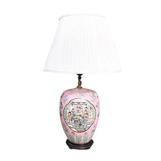 Chinoiserie Asian Motif Pink Pastel Famille Rose Floral Ceramic Porcelain Ginger Jar Lamp With Brass Detail and Cream Shade For Sale
