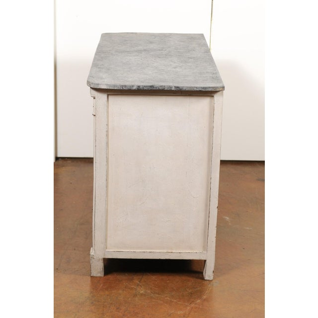 Belgian 1850s Gustavian Style Three-Drawer Painted Commode with Faux-Marble Top For Sale - Image 12 of 13