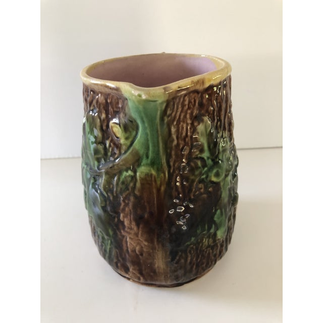 Antique Majolica Oak Leaves and Acorns Pitcher For Sale - Image 4 of 9